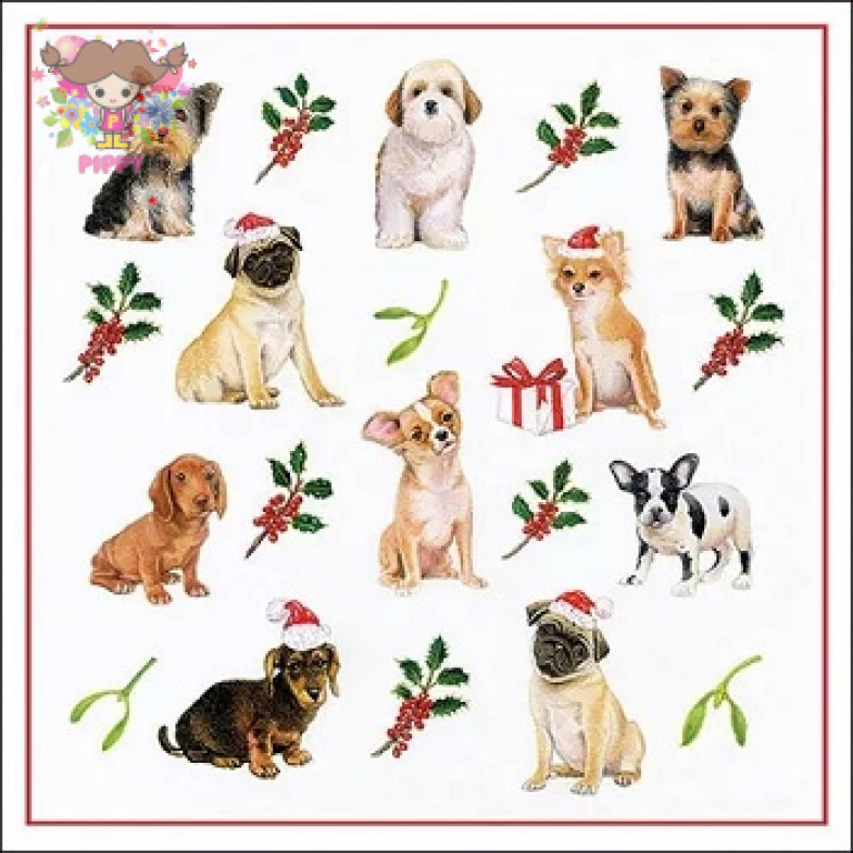 Ambiente Europe BV Lunch napkins☆Christmas Dogs☆ (20pcs)