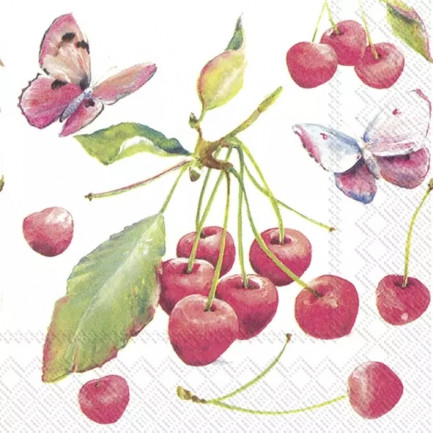 IHR Lunch napkins☆CHERRIES AND BUTTERFLY☆(20 item)