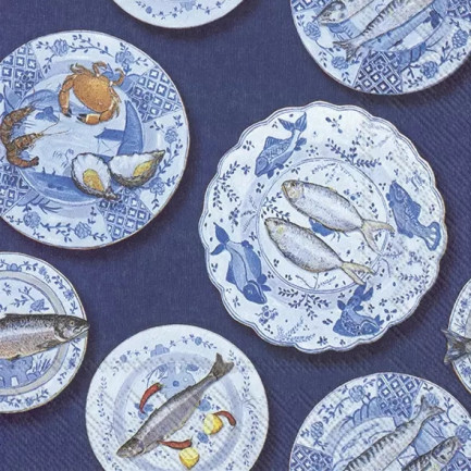 IHR Lunch napkins☆SEAFOOD ON A PLATE blue☆(20 item)