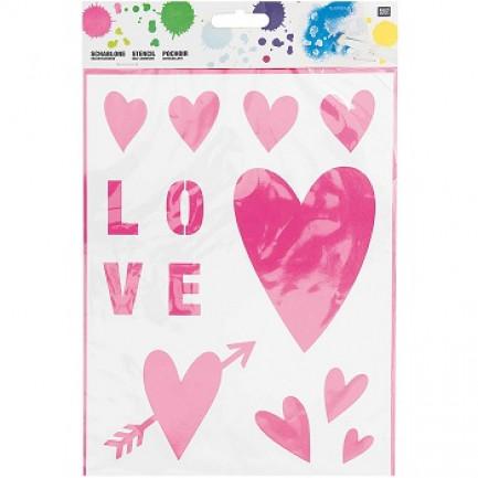 Stencil☆ HEART 18,5X24,5CM SELBSTKLEBEND☆