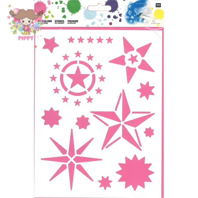 Stencil☆Stars 18,5X24,5CM SELBSTKLEBEND☆