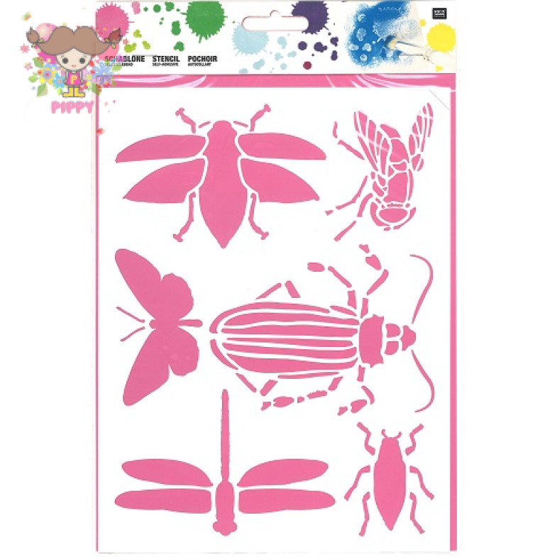 Stencil☆INSECTS 18,5X24,5CM SELBSTKLEBEND☆