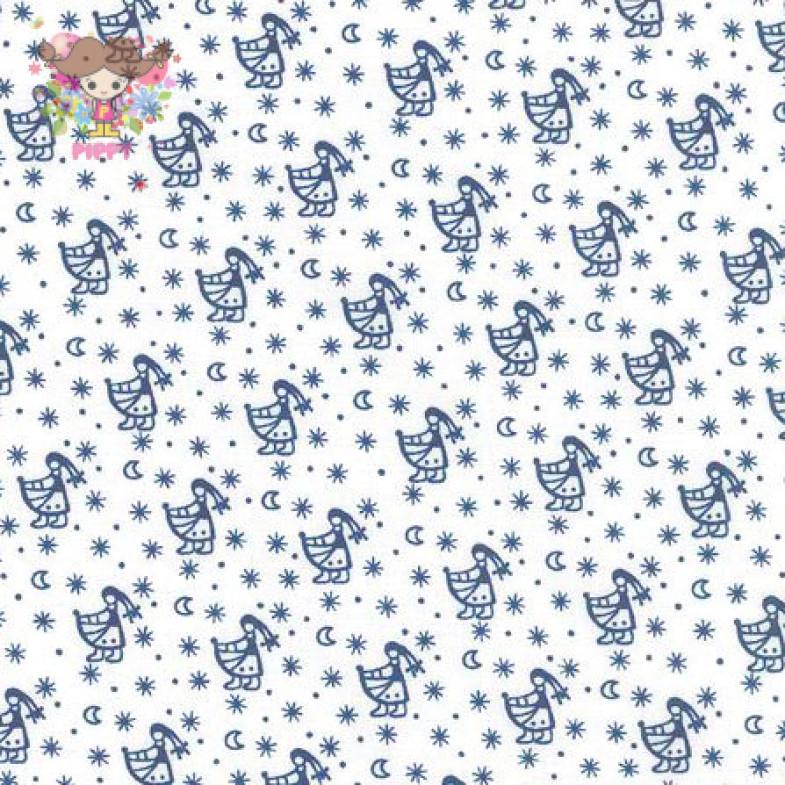 Westfalenstoffe Fabric ☆Girl off-white / navy☆