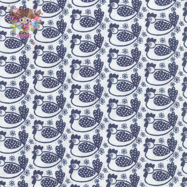 Westfalenstoffe Fabric ☆Chicken off-white / navy☆