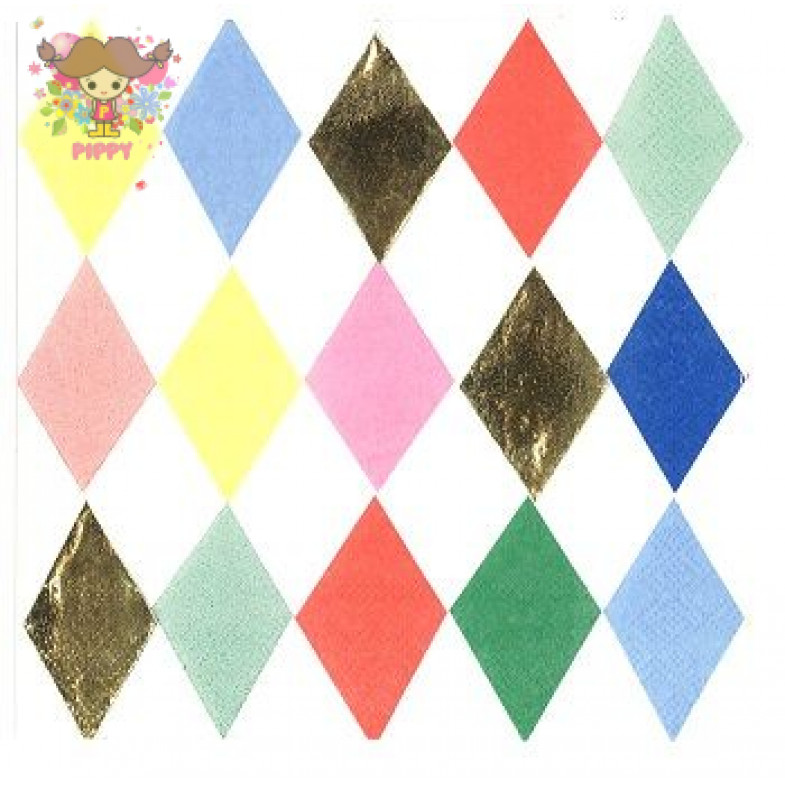 Meri Meri Lunch napkins☆ Diamond pattern(16item)