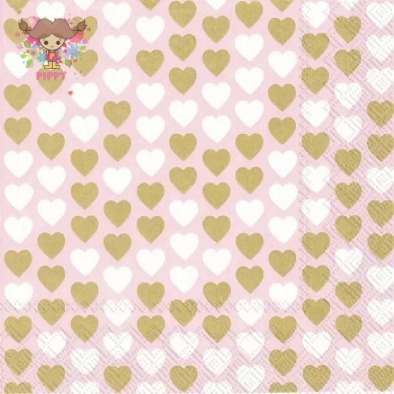 IHR Lunch napkins☆LOVELY LITTLE HEARTS li. rose☆(20 item)