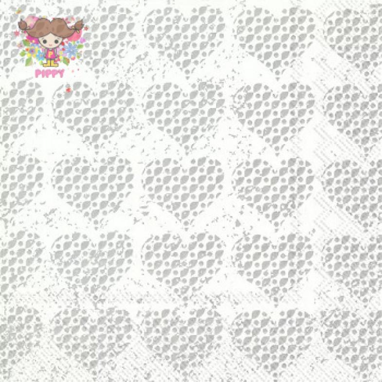 IHR Lunch napkins☆FANCY HEARTS silver☆(20 item)