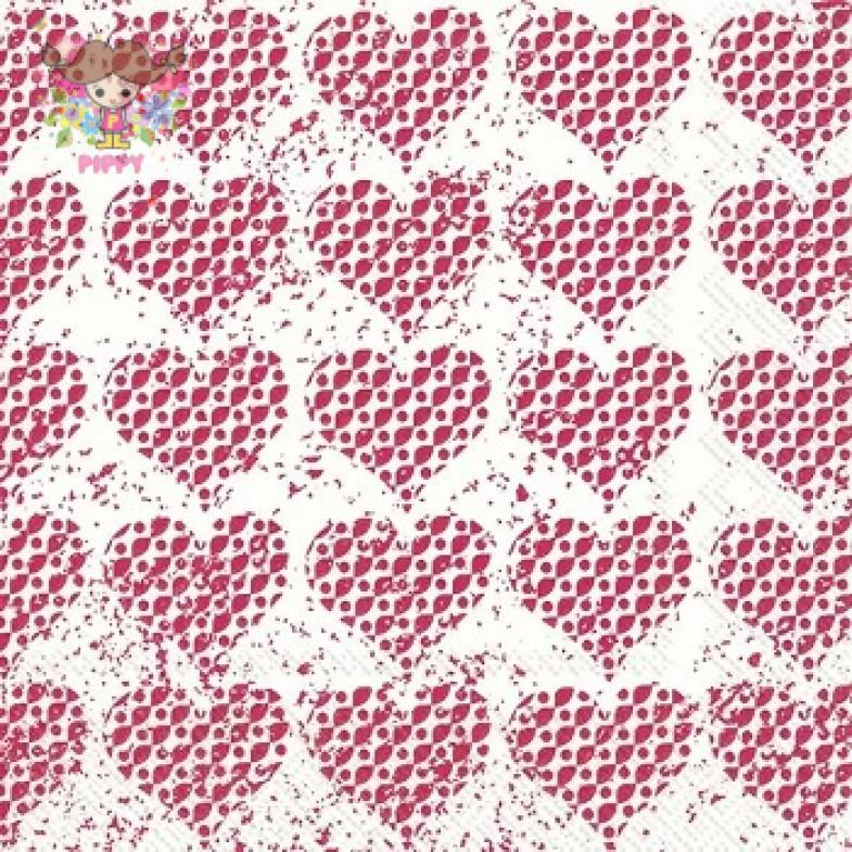 IHR Lunch napkins☆FANCY HEARTS red☆(20 item)