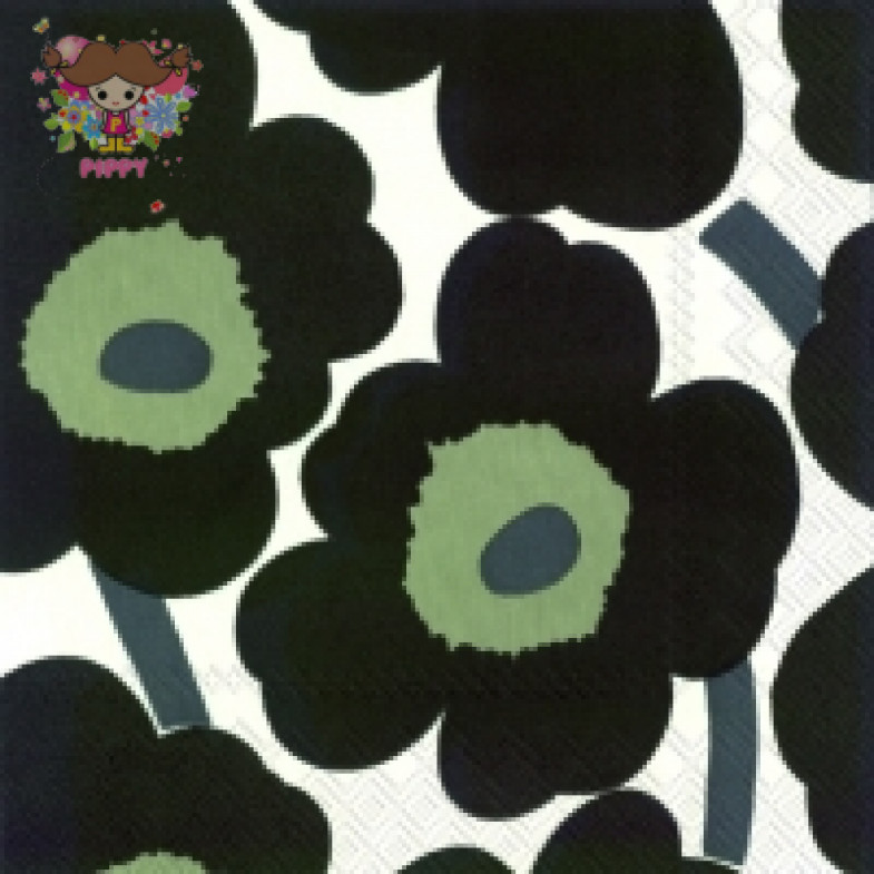 Marimekko Lunch napkins☆UNIKKO white black☆(20pcs)