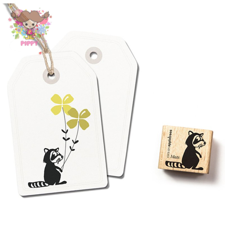 cats on appletrees STAMP☆Racoon☆
